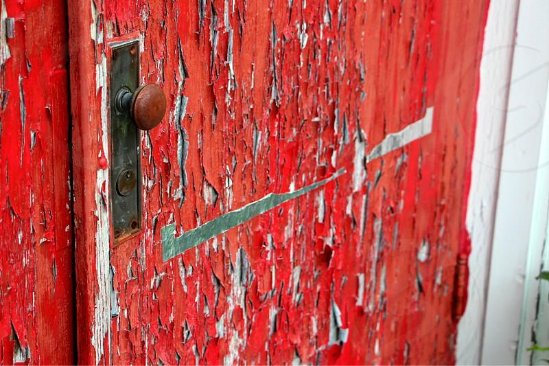 church door red door door knob paint peeling needs work old door old church door photo