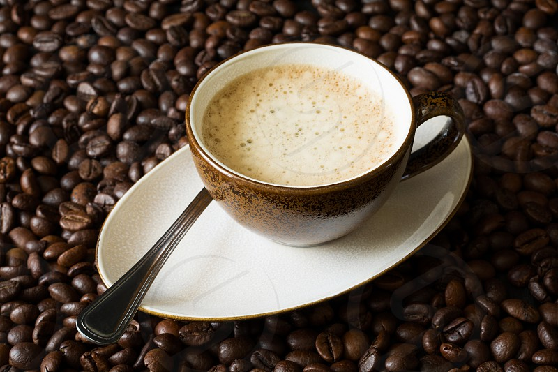Cup of coffee on beans photo