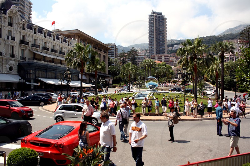 Town Center People Cars Busy photo