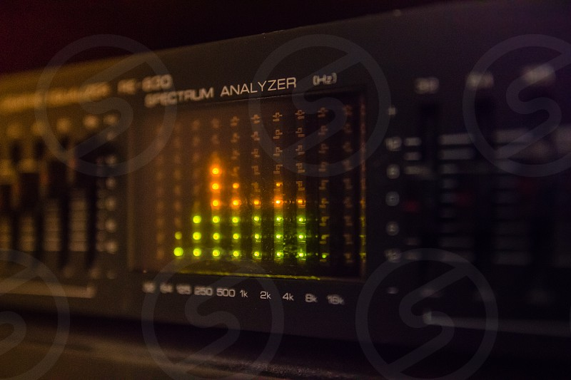 Graphic equalizer bars on an audio system - Close Up Selective Focus