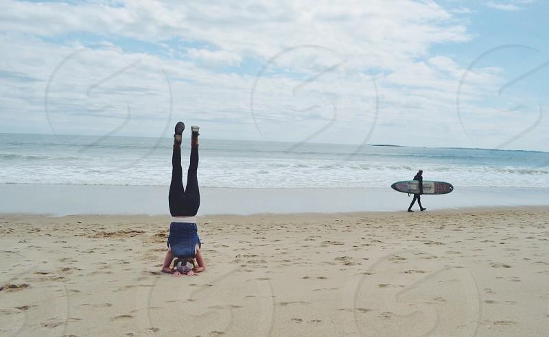 Spontaneous beach yoga. Ocean Park ME photo