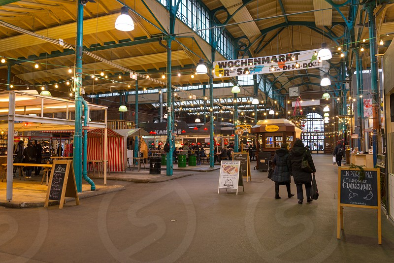 Markthalle Neun is the famous market which has a street market on ThursdayKreuzberg Neighborhood in Berlin Germany photo