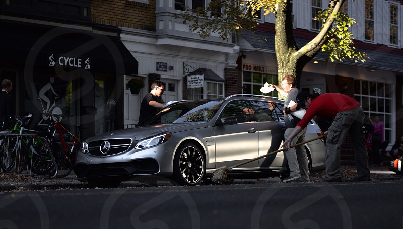 crew cleaning up on set for the Mercedes Benz commercial photo