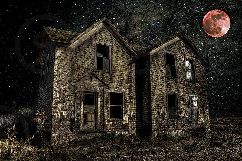 haunted Halloween spooky moon abandoned landscape dark sky stars night broken starlight red glass photo