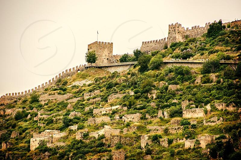 Historical castle ruins in Alanya Turkey. photo
