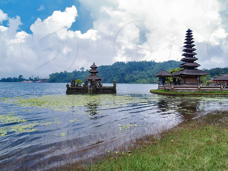 Pura Ulun Danu Beratan or Pura Bratan is a major Shaivite water temple located on the shores of Lake Bratan in the mountains near Bedugul on Bali Indonesia photo