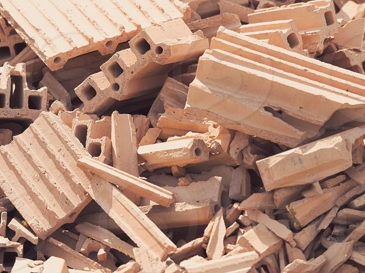 Red Brick Debris Pile on a Sunny Day Closeup photo