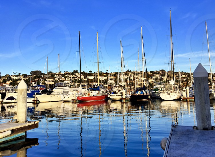 Lifestyle Boating Challenge Colorful Sailboats in the Harbor with mirror image reflections of masts and bows on the water harbor sailboats Red boat sails masts reflections  photo