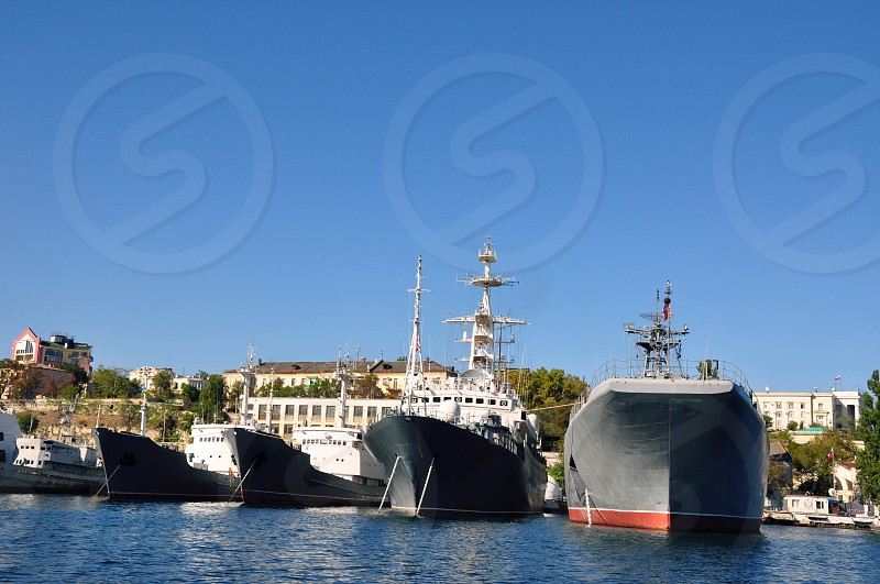 Russian warship in port of Sevastopol Crimea photo