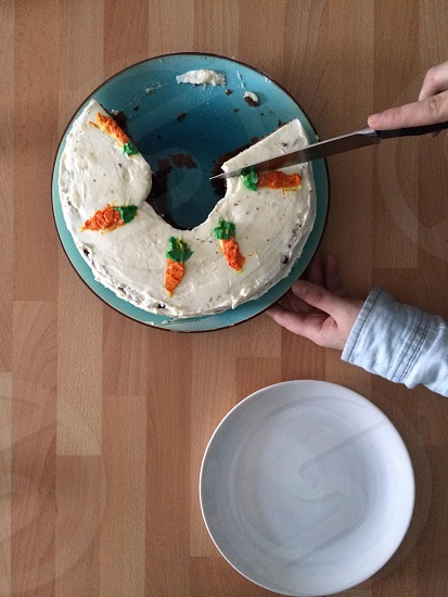 person slicing carrot cake photo
