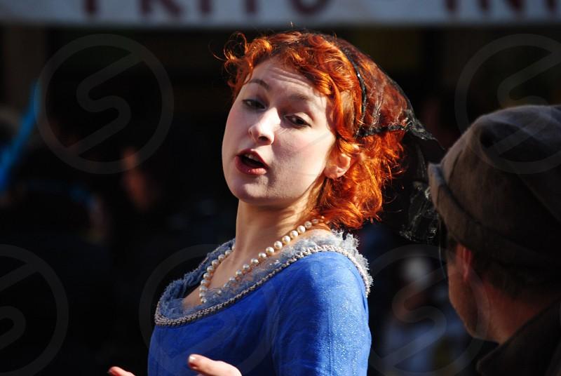 woman in blue dress photo