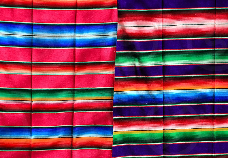 Mexican serape fabric colorful pattern texture background photo