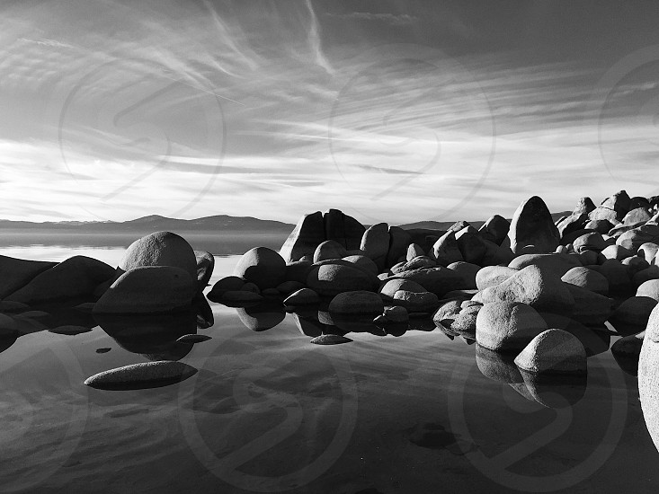 Lake Tahoe rocks beach simple minimalism black and white photo