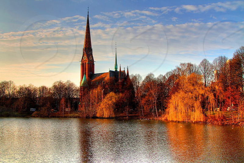 Hamburg Church Blue Sky River Side photo