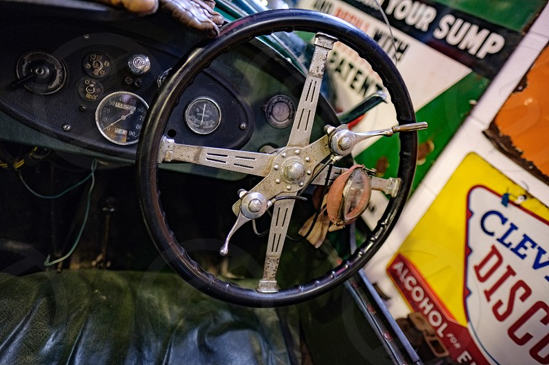 Interior of an Old Morgan Super Sports 1936 in the Motor Museum at Bourton-on-the-Water photo