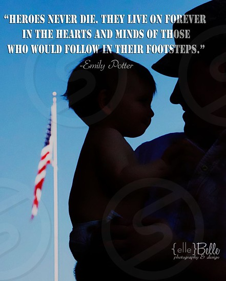 Labor Day Memorial Day military father son patriot flag honor photo