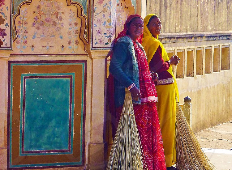 Indian cleaning ladies traditional dress India photo