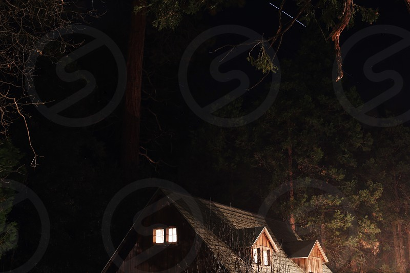 Mountains Cabin Night Long Exposure Shooting Star Travel Retreat  photo