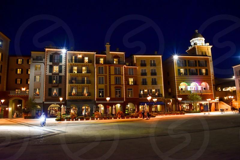 Orlando Florida. January 05 2019. Illuminated colorful buildings in Portofino Hotel at Universal Studios area. photo