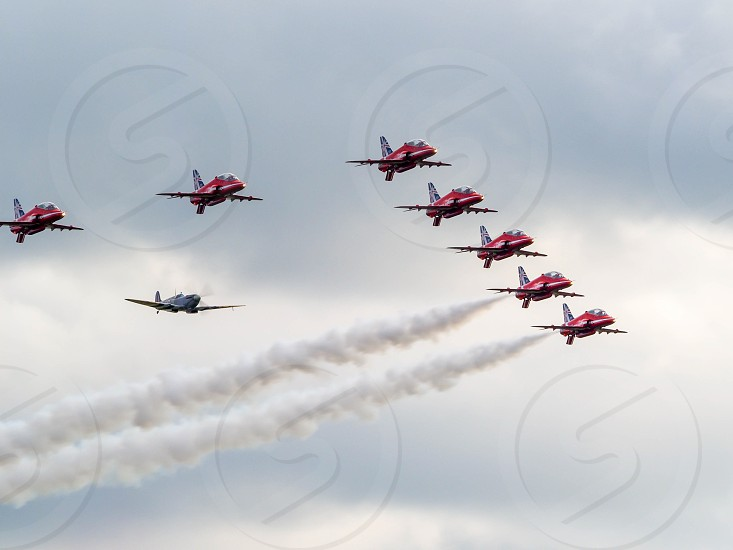 Red Arrows 50th Anniversary at Biggin Hill Airport Escorting a Supermarine Spitfire photo