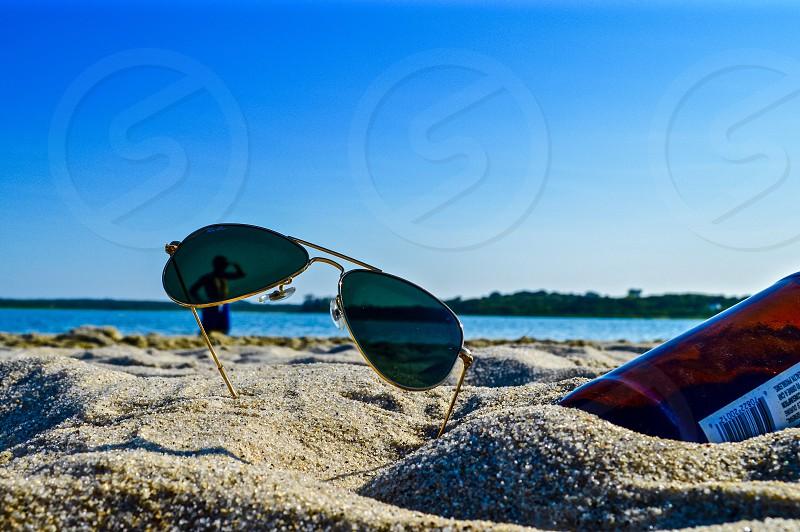 Sunglasses beach sand Summer sunny swim Lake photo