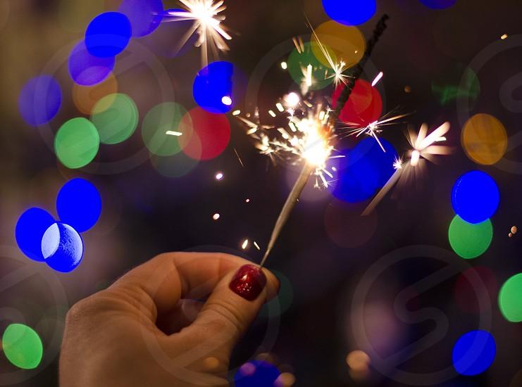 New year eve festive celebration Christmas decorations lights bright colorful  photo