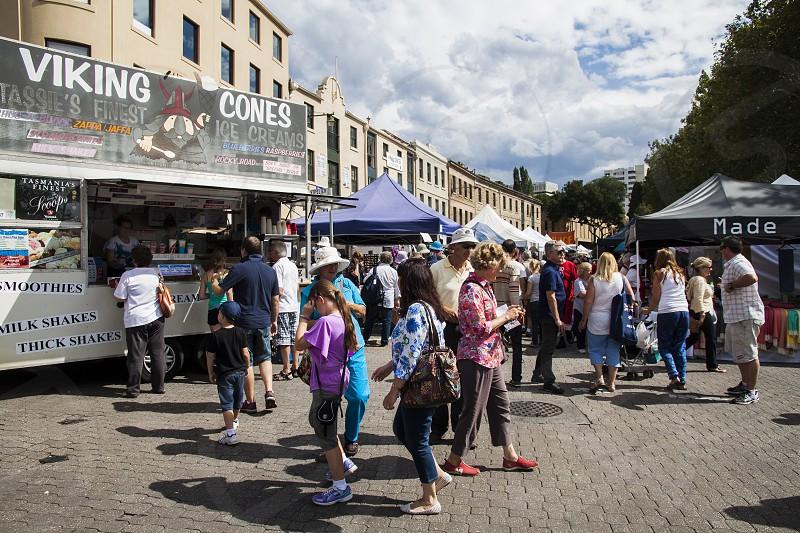 Historic Salamanca Market in Hobart Tasmania Australia. photo