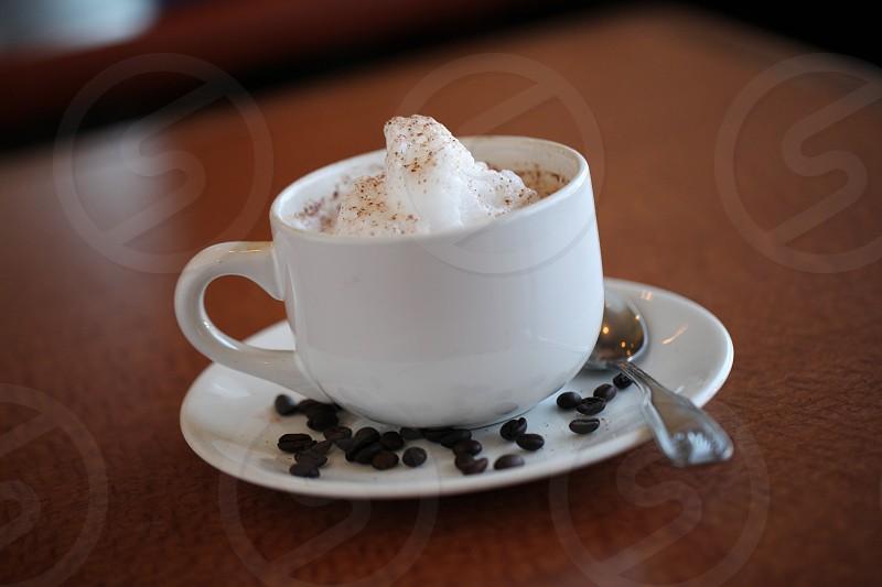 Coffee chai foam beans brew spoon java photo
