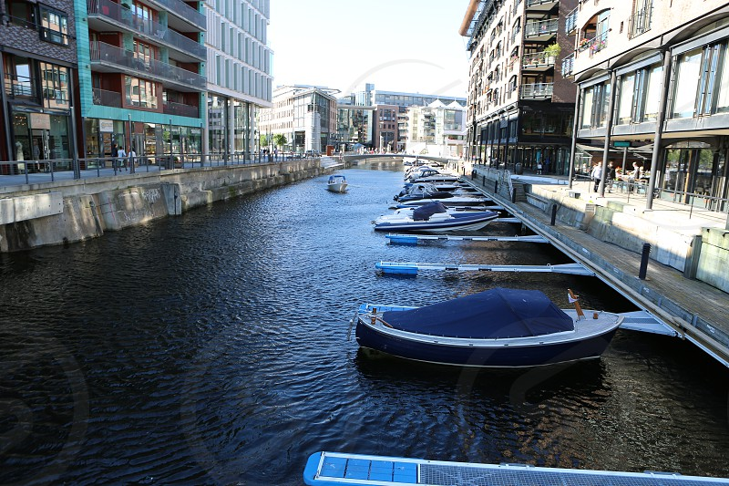 Downtown Oslo canal streets photo