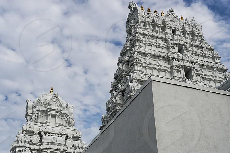 Color palate white Hindu temple architecture cold tones  photo