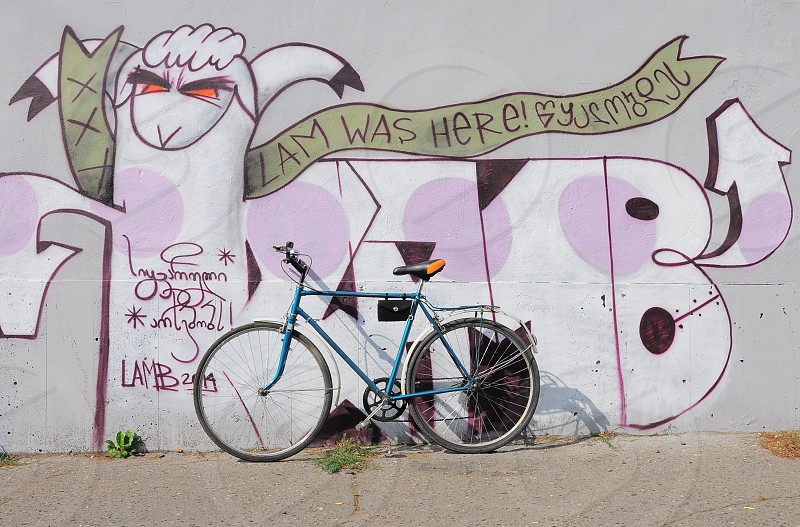 blue cruiser bicycle leaning on mural photo