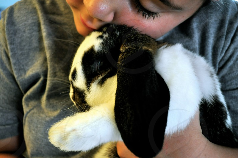 Little girl hugs her bunny rabbit photo