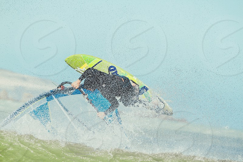 windsurfing surfing surf ocean beach wind waves water photo
