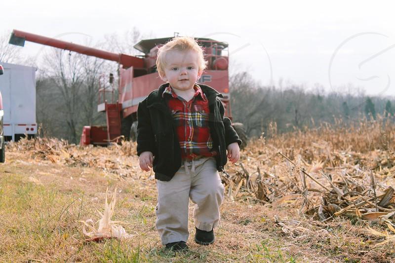 Toddler combine farming  photo