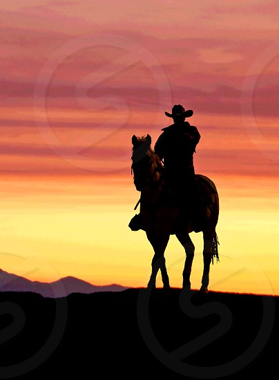 Cowboy on horseback at sunset photo