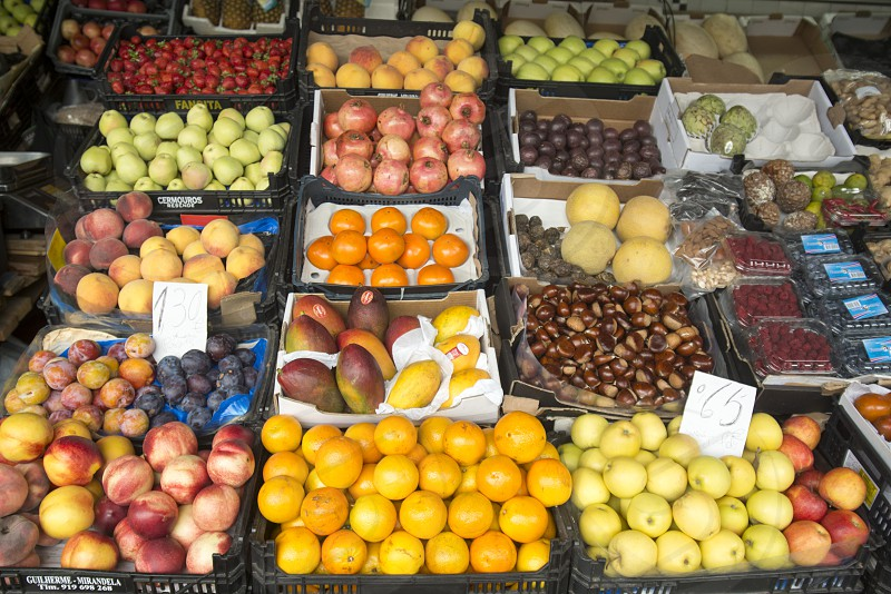 Fruits at the Market Mercado do Bolhao in the city centre of Porto in Porugal in Europe. photo