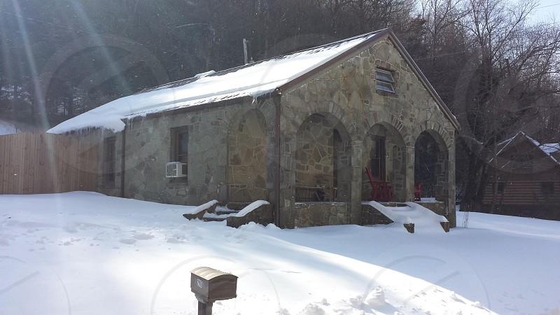Winter snow cabin photo