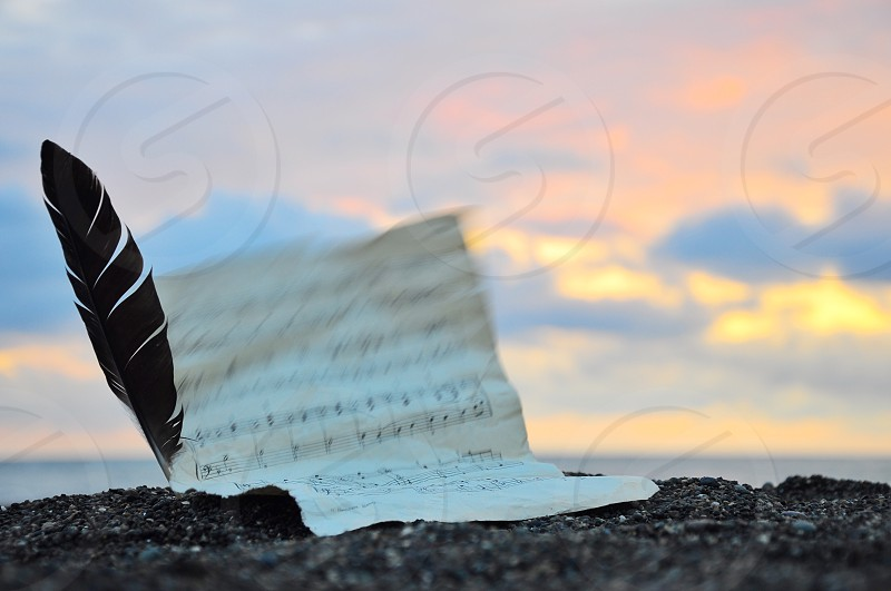 note sheet and feather on beach under grey cloudy sunset sky photo