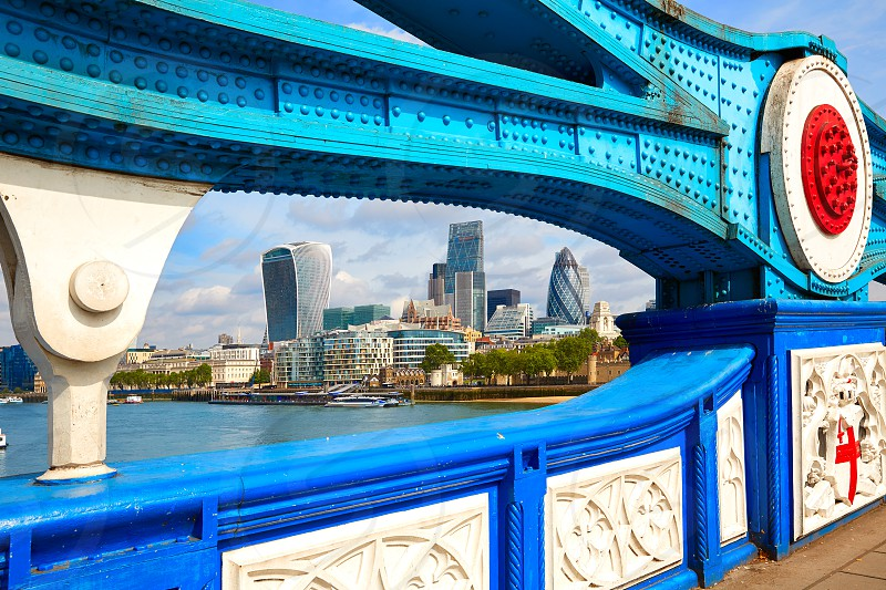 London Tower Bridge on Thames river in England photo