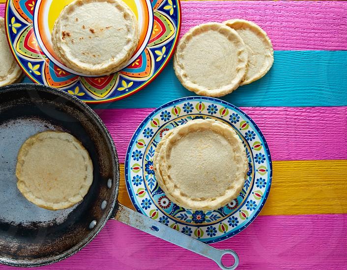 Sopes handmade mexican traditional food thick corn masa tortillas photo