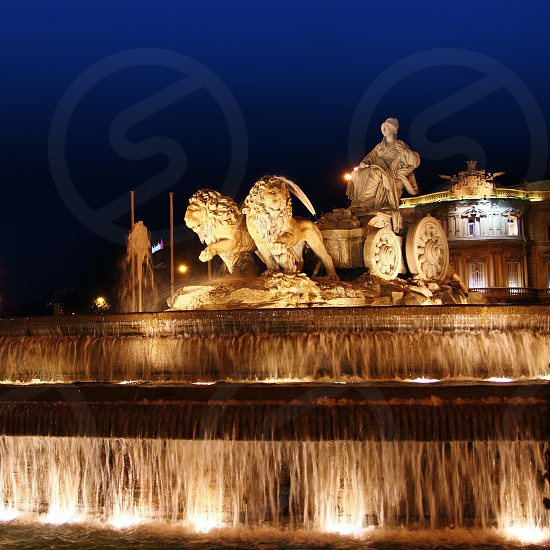 Cibeles night statue in Madrid Paseo Castellana of Spain photo