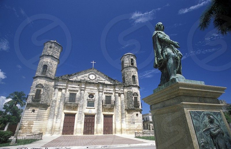 the catedral with a Columbus Monument in the old town of cardenas in the provine of Matanzas on Cuba in the caribbean sea. photo