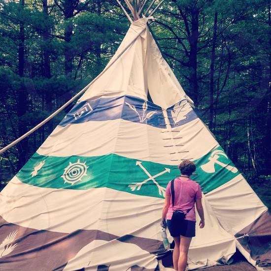 Tipi in Northwoods of Rhinelander Wisconsin US. Indian tent photo