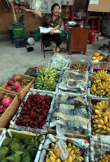 fruits at the Pak Khlong Food Markt in Banglamphu in the city of Bangkok in Thailand in Suedostasien. photo