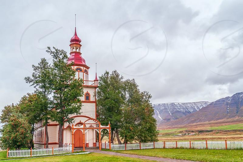 Grundarkirkja (Grund Church) at Grund near the city of Akureyri. North Iceland photo