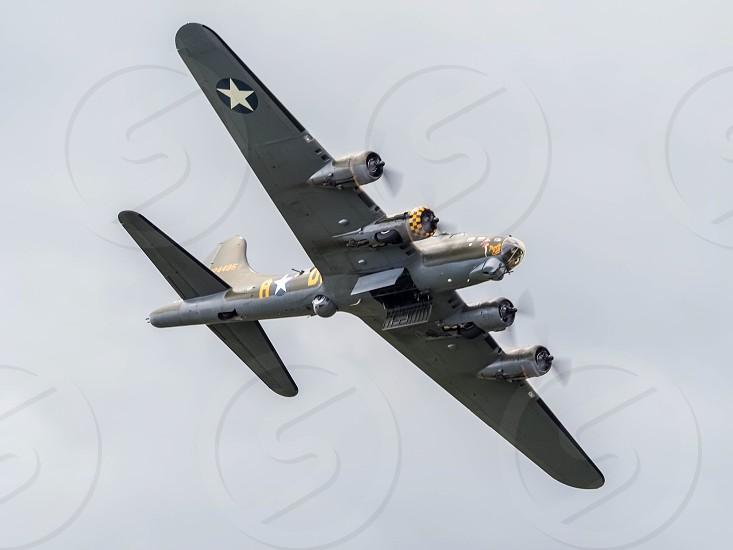 Memphis Belle Boeing B 17 Sally B bomber flying over Biggin Hill airfield photo