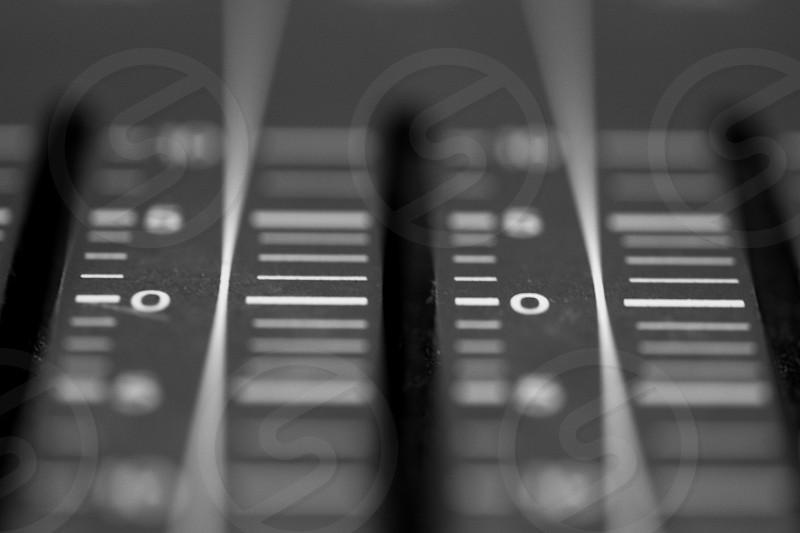 Closeup view of Meter Indicator on Professional digital Audio mixing control Console with zero decimal indicators photo