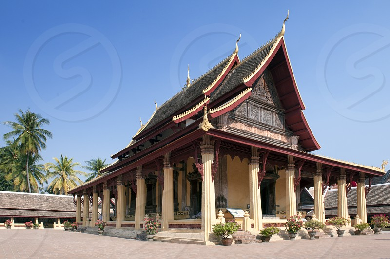 The main hall of Wat Si Saket most revered Buddhist temple in city of Vientiane capital of Lao PDR. photo