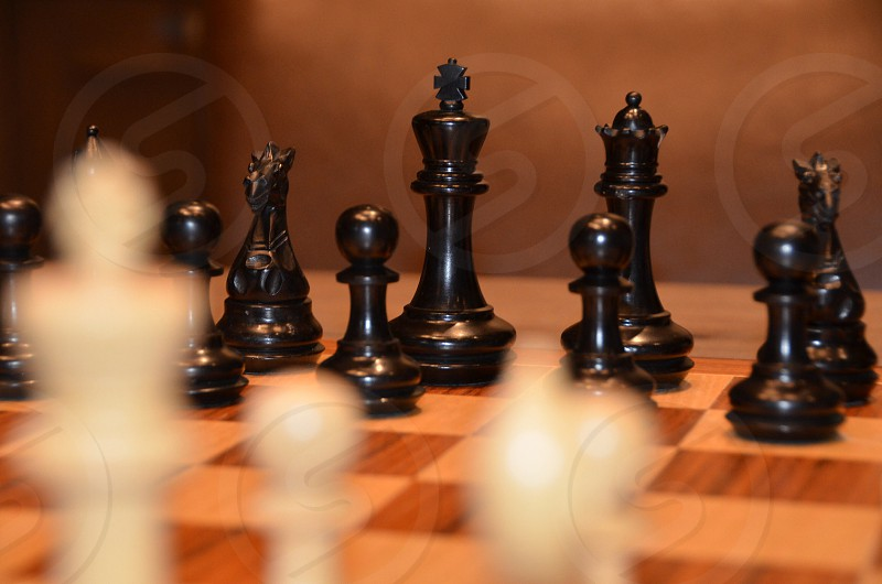 Black and white chess pieces on the wood chess board photo