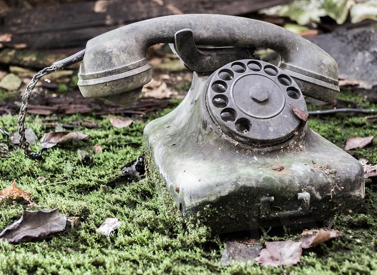 Telephone old telephone handset dial retro nostalgia united moss listener string select rotate expire photo